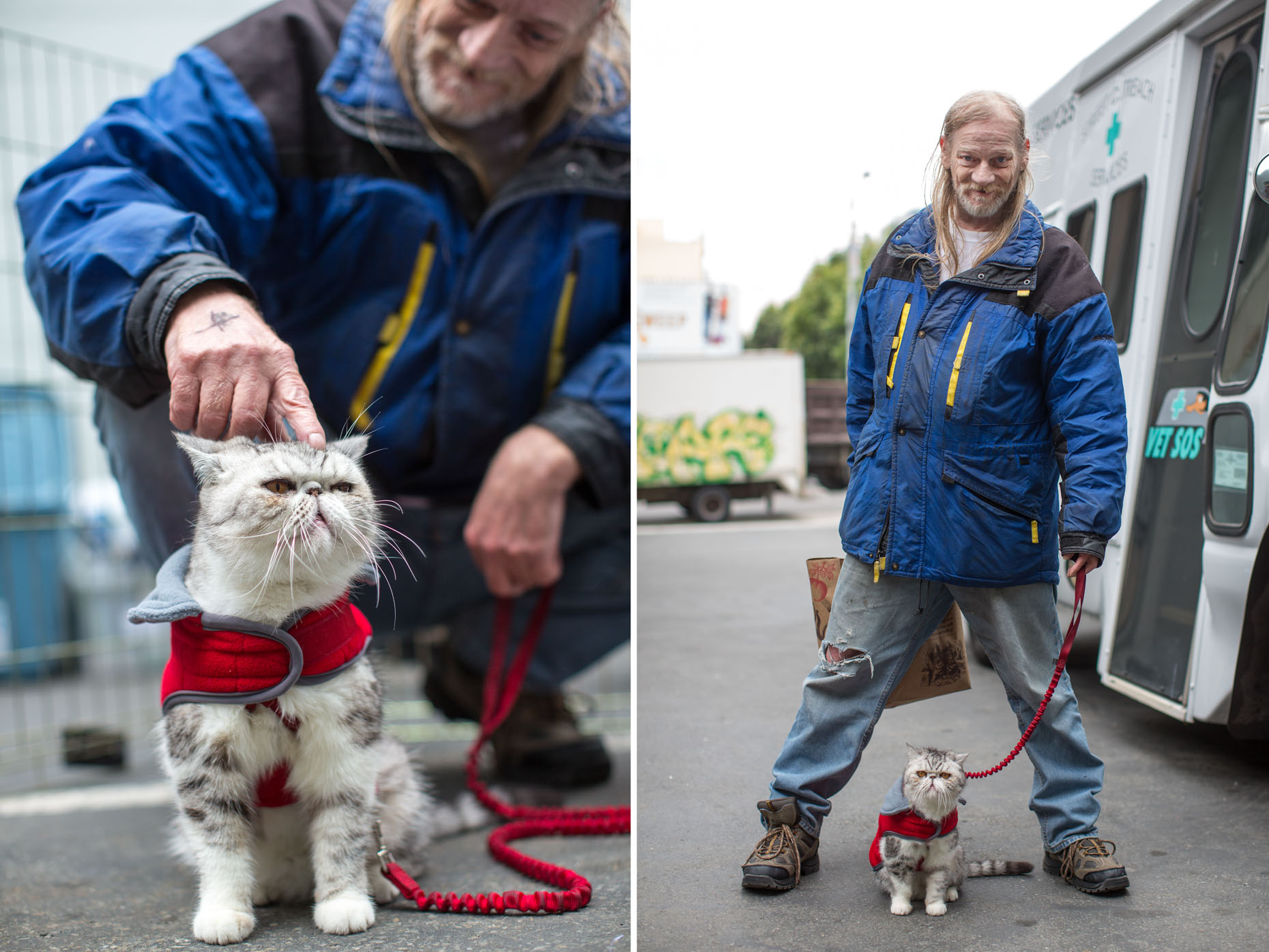 Commercial Animal Photography | Man Holding Cat on Red Leash by Mark Rogers