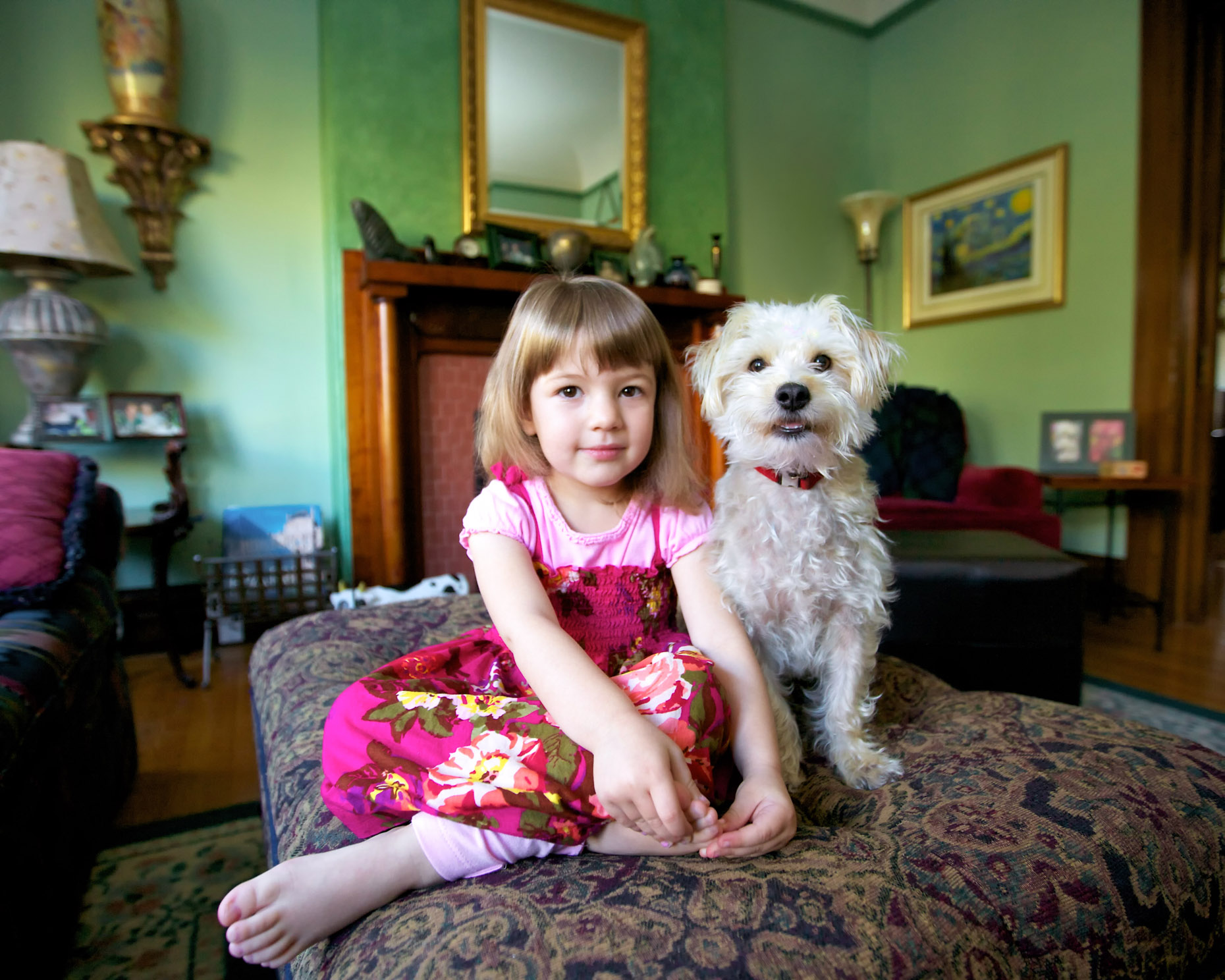 Pet and People Photography  | Little Girl with Dog in Room by Mark Rogers